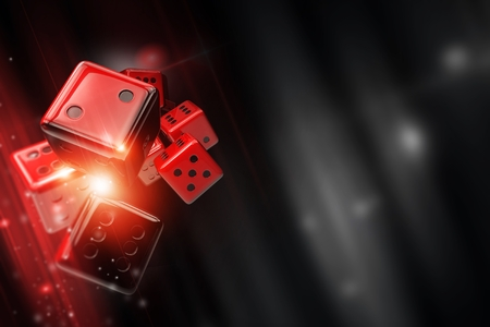 Craps, Big Six Wheel, Pai Gow or Sic Bo Casino Dice Game Concept. 3D Rendered Illustration with Red Dices and Right Side Copy Space.