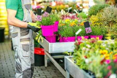 Fleuriste et ses fleurs. Propriétaire du magasin de jardin caucasien. Jardinage et aménagement paysager. Thème de l'industrie floristique.