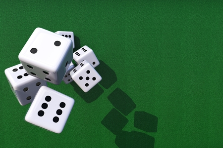 Dices Games Background 3D Illustration Concept with Copy Space. Classic White Dices and Green Gambling Table. Stock Photo