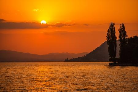 Swiss Lake Thun Sunset. Interlaken, Switzerland. Summer at the Lake.