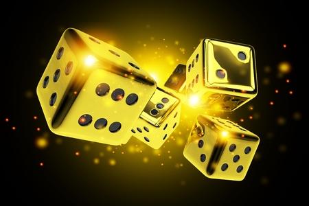 Golden Dice Casino Game 3D Rendered Concept Illustration. Vegas Craps. Stock Photo