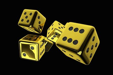 3D Rendered Illustration of Shiny Golden Casino Dices Isolated on Solid Black Background. Reklamní fotografie