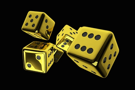 3D Rendered Illustration of Shiny Golden Casino Dices Isolated on Solid Black Background.