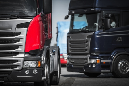 Euro Trucks Convoy Concept. Truck Driving and Transportation.