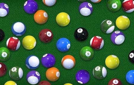 Billiard Game Balls Background 3D Rendered Illustration Concept.
