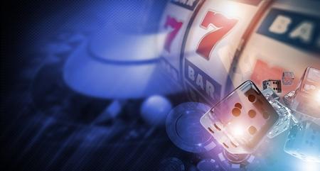 カジノのギャンブラー バナー概念 3 D イラスト。サイコロのようなカジノのゲーム、スロット マシンおよびルーレットのゲームを片手します。 写真素材