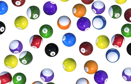 3d ball: Billiard Balls Backdrop. Balls Isolated on Solid White Background. 3D Rendered Illustration.