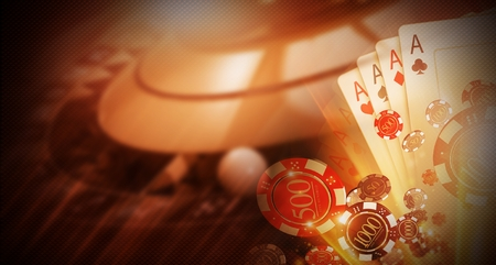 Casino Money Games Bet 3D Concept Illustration. Conceptual Casino Background with Roulette Wheel, Blackjack Cards and Betting Chips.