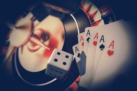 Vegas Gambler Concept 3D Render Illustration. Casino Roulette, Craps Dices and Poker Cards.