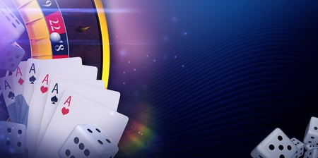 Casino Online Gaming Banner Concept with 3D Rendered Casino Elements.