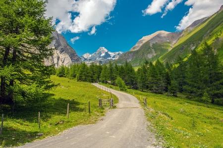 Grossglockner Alpine Trailhead. Scenic Trail in the Austrian Alps.
