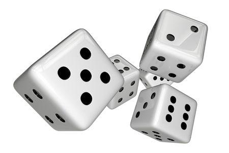 sic: White Gaming Dices Isolated on White. 3D Rendered Illustration.
