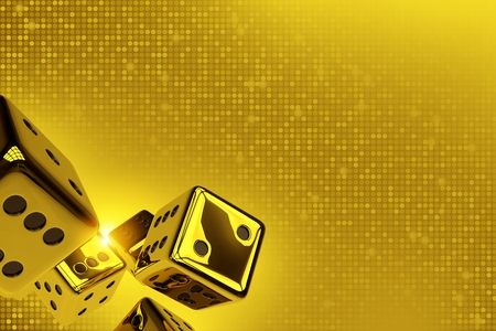 ゴールデン ダイス コピー スペース 3 D レンダリング図。Goldish 点滅背景に光沢のある黄金のクラップス サイコロ 写真素材