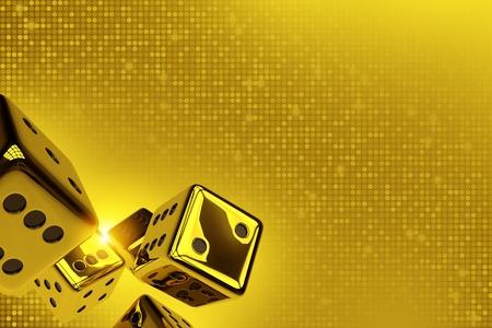 Golden Dices Copy Space 3D Render Illustration. Shiny Golden Craps Dices on Goldish Blinking Background