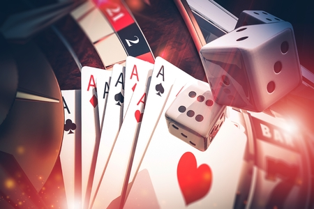 Multi Casino Games Concept 3D Render Illustration. Poker, Craps, Slot Machine and Roulette.