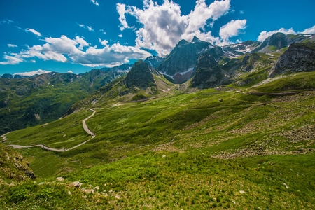 Alpine Pass Road. Great St Bernard Mountain Pass in Italy. Stock Photo