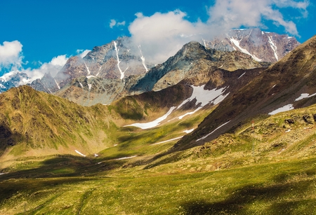 Swiss Alpine Landscape neat St Bernard Pass. Switzerland Scenic Alp Mountains. Stock Photo
