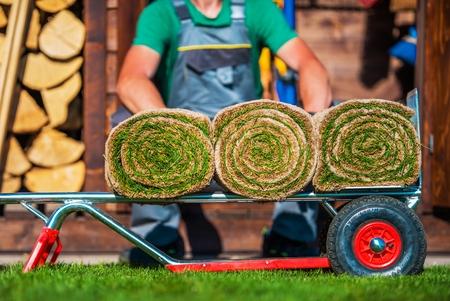 paysagiste: Grass Turfs roulé sur un chariot mobile. Préparation à l'aménagement naturel de l'herbe. Banque d'images