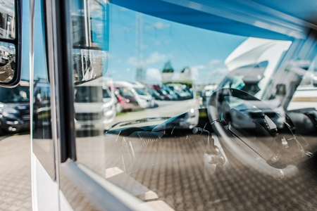 Rving Industry RV Dealer. Modern Camper Vans Dealer Lot.