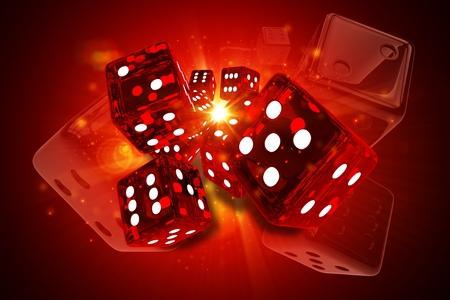 Hot Dices Casino Games 3D Rendered Concept Illustration. Glassy Reddish Craps Dices.