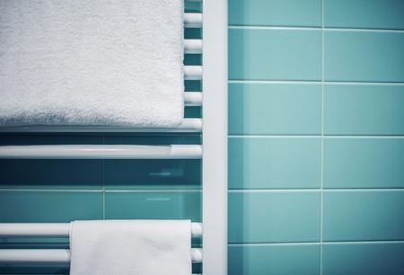 Bathroom Towel Heater Closeup. Bathroom Accessories.