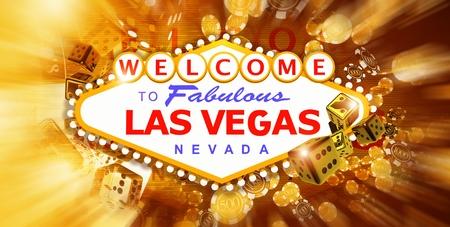 ラスベガスのストリップサインとカジノゲーム3D レンダリングされたグラフィックの要素との楽しい概念的なバナーイラスト。 写真素材