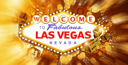 Las Vegas Game and Fun Conceptual Banner Illustration with Vegas Strip Sign and Elements of Casino Games 3D Rendered Graphic.