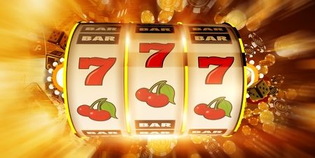 One Handed Fruit Machine Concept Illustration. 3D Rendered.  Slot Machine Drum and Casino Chips Blowing Around. Golden Theme.