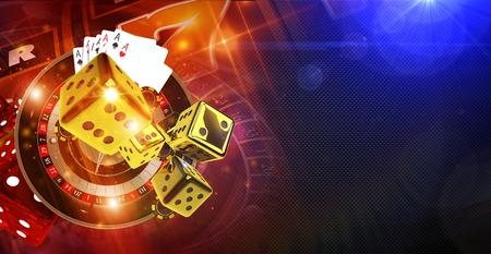 フォーチュン概念バナー イラスト 3 D レンダリングのカジノのゲーム。ルーレットのホイール、黄金クラップス サイコロと他のカジノのゲームの要