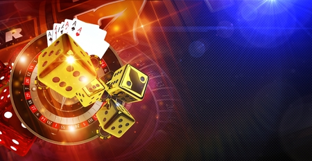 Casino Games of Fortune Conceptual Banner Illustration 3D Rendered. Roulette Wheel, Golden Craps Dices and Other Casino Games Elements.