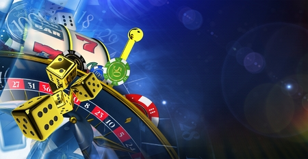 Dark Blue Casino Theme. 3D Rendered Illustration with Copy Space. Las Vegas Games Concept. Stok Fotoğraf - 86609406