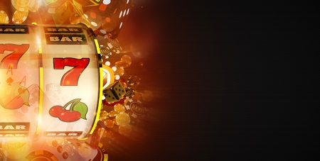 Slot Machine Win Banner Concept with Copy Space. Fruit Machine and Blowing Casino Chips Dark Banner.