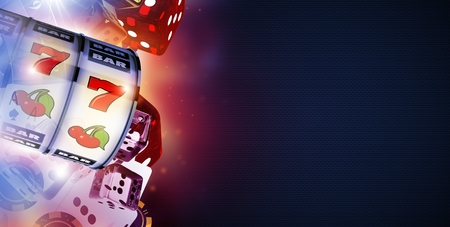 Online Casino Game Play Concept 3D Rendered Banner Illustration with One Handed Slot Machine in Front.