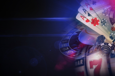 暗い紫のカジノのゲームの 3D レンダリング概念図です。ラスベガスカジノ オンラインは、左側にコピー スペースを持つ概念グラフィックをゲーム