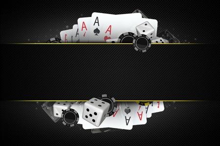 ブラック ジャック ダイスとカジノのチップ センター コピー スペース セクションと 3 D イラスト。カジノ ギャンブルのコンセプトです。