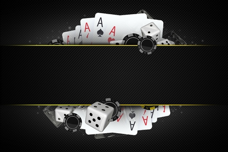 Blackjack Dices and Casino Chips 3D Illustration with Center Copy Space Section. Casino Gambling Concept.
