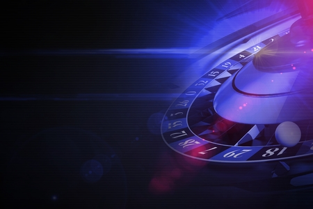 Glowing Purple Roulette Concept 3D Rendered Illustration with Left Side Copy Space. Black Background Casino Theme. Standard-Bild