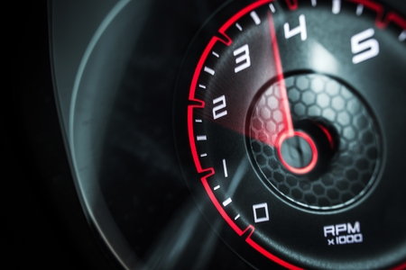 Car Engine Revolutions Per Minute Display Instrument. Powerful Vehicle Concept. Standard-Bild