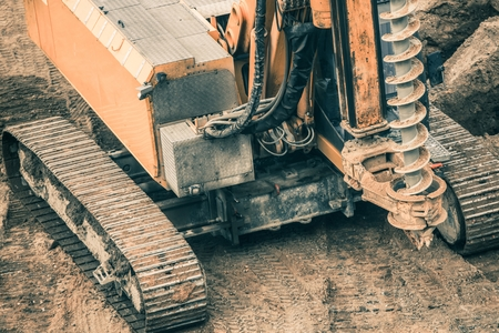 Heavy Duty Construction Drilling Machinery. Construction Site Machines. Stock Photo