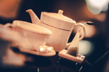 Five Oclock Tea Time. Tea Pot Full of Tasteful Fresh Brewed Hot Tea.