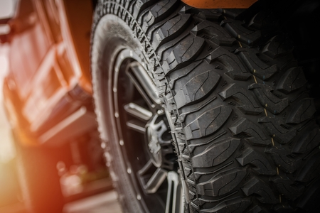 Heavy Duty Professional Off Road Truck Tires and Vehicle Suspension. Stock Photo