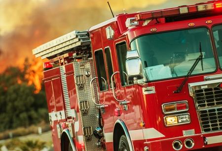 Feuerwehr-LKW mitten im Geschehen. Kampf gegen Wald-Lauffeuer. Feuerwehrauto in Aktion. Wildfire-Unterdrückung. Standard-Bild