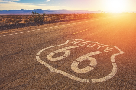 California Route 66 and Mojave National Preserve Landscape. United States of America. Archivio Fotografico