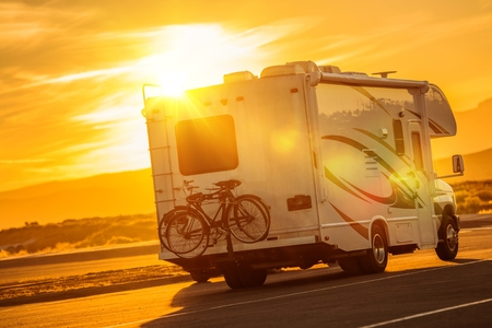 RV Camper Boondocking on the Public Parking. Recreational Vehicle Traveling .