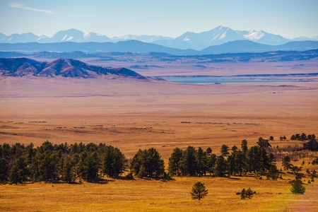 Scenic Central Colorado Landscape with Eleven Mile Reservoir in the Valley. Stock Photo