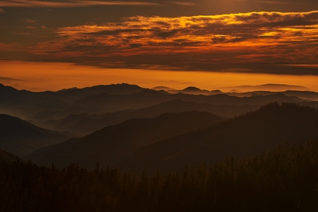 Southern Sierra Nevada Mountains Scenic Sunset. California, United States of America