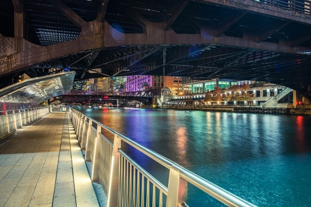 Downtown Chicago Riverwalk at NIght. Chicago, Illinois, United States of America.