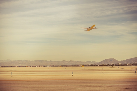 Las Vegas Airport Airliners Take Off. Nevada, United States of America. Air Travel Concept.