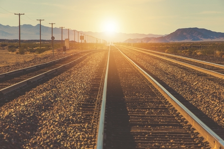 Souther California Railroad Trucks. Mojave Desert. United States of America. Stock Photo