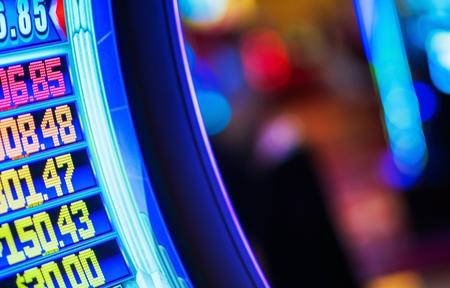 Video Money Games Concept Photo. Part of Video Slot Machine in the Las Vegas Casino. Stock Photo